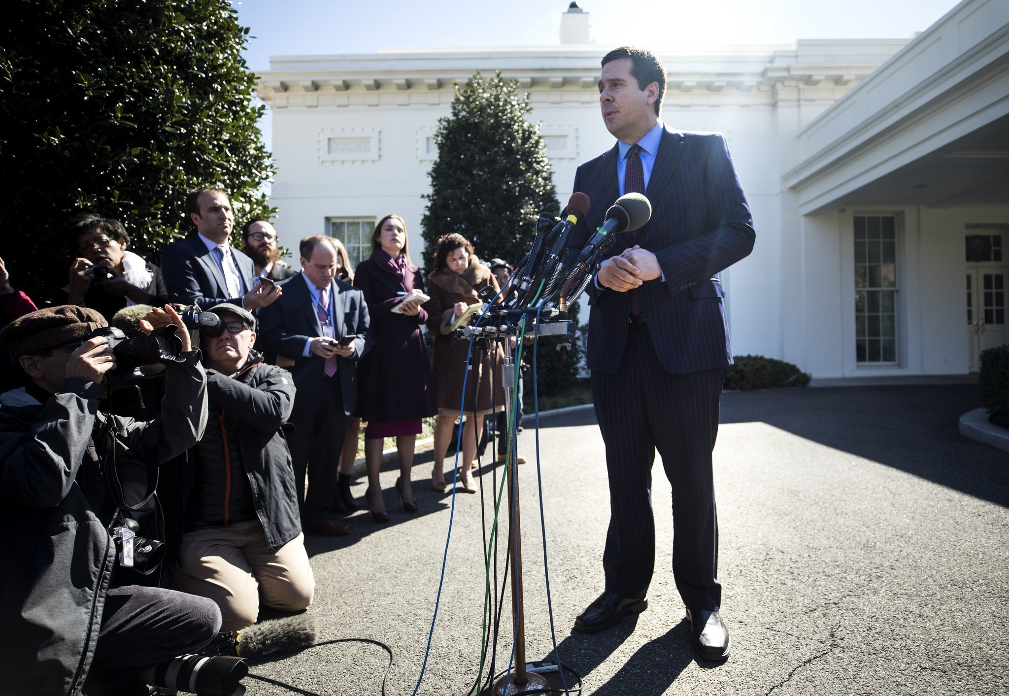 Rep. Devin Nunes speaks to the media outside the White House after he shared intelligence information with President Trump.