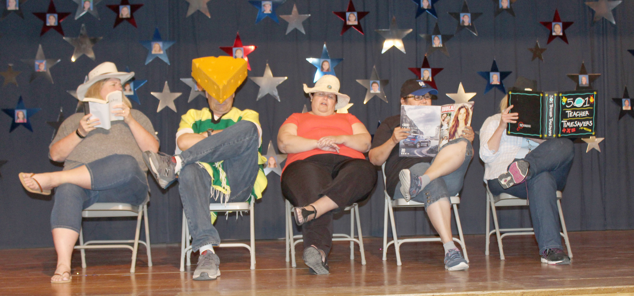 In a skit that builds momentum before an abrupt ending are teachers Leah Hillis-Finley, Michael Zehm, Susan Douglass, Sandra Jimenez, and Lisa Bennett.