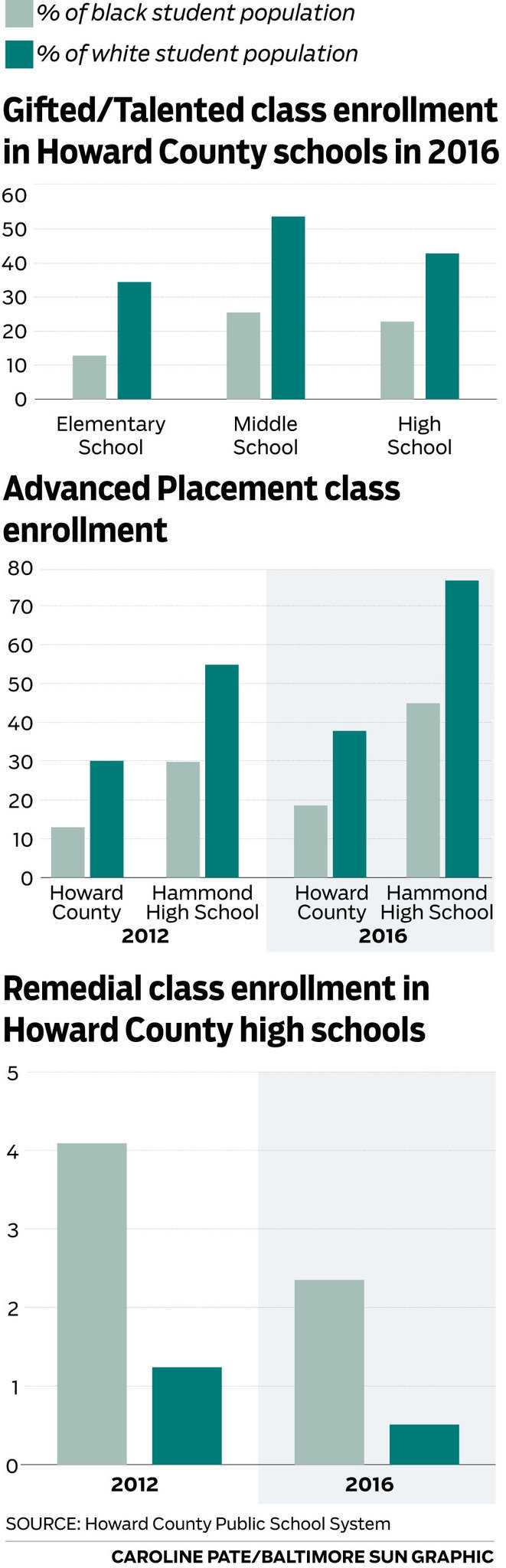 Racial disparities within Howard County classes