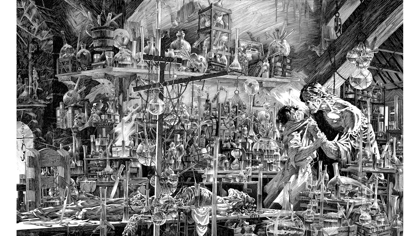 "Inside Frankenstein's laboratory. An example of one of Bernie Wrightson's intricate works from the Mary Wollstonecraft Shelley's ""Frankenstein."""