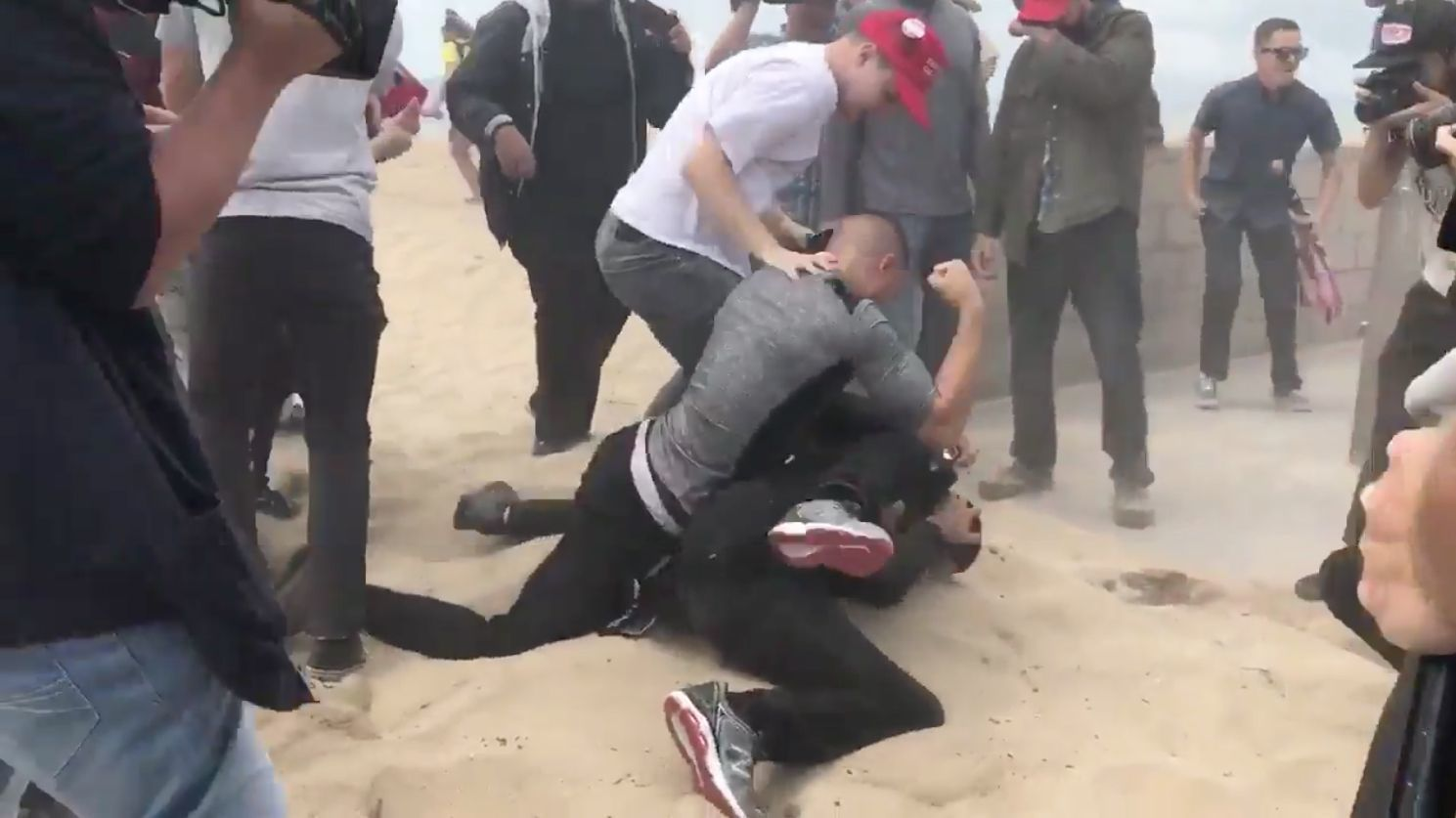 Violence erupts at pro-Trump rally in Huntington Beach