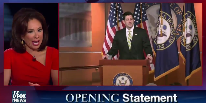 Judge Jeanine Calls For Paul Ryan To Quit — Hours After Trump Plugged Her Show!