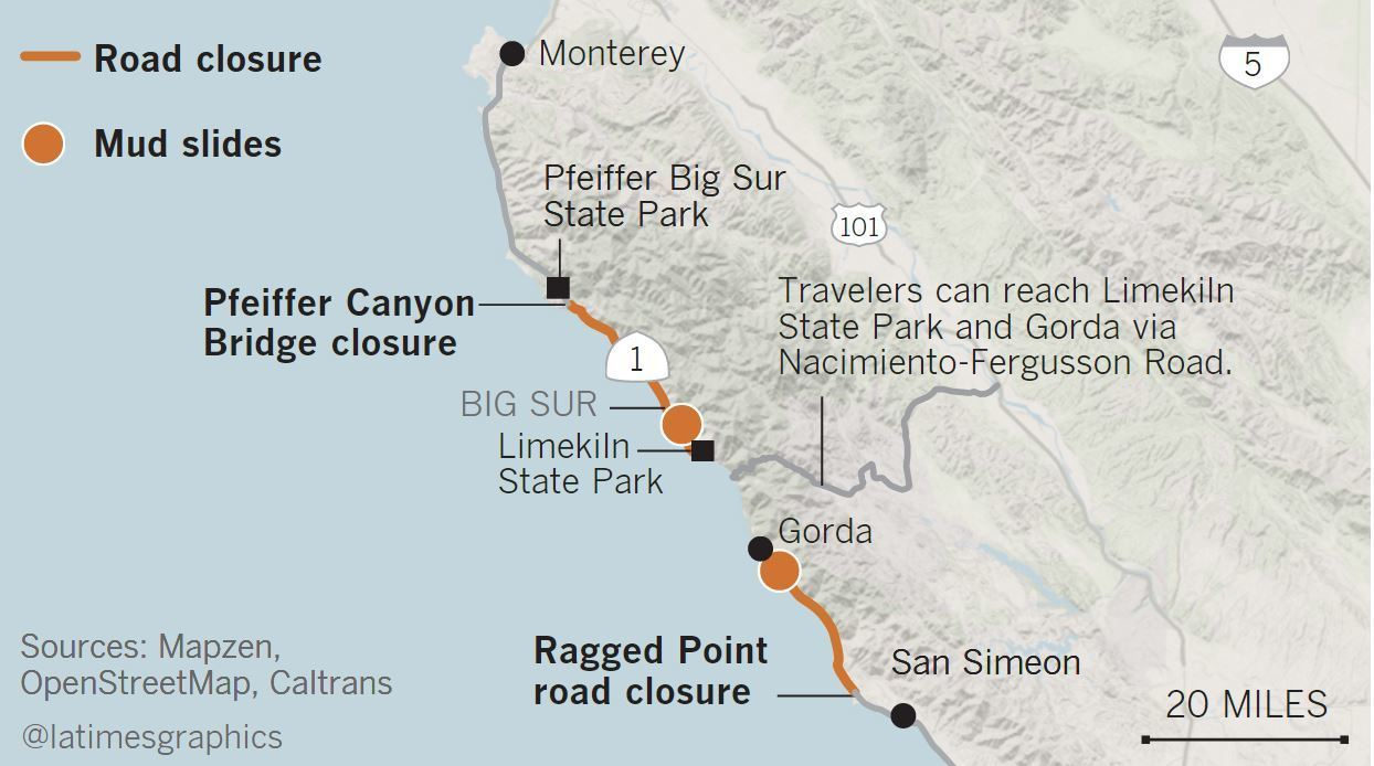 Big Sur Lost A Bridge And Slipped Back In Time Now Residents Are - Us highway 1 map