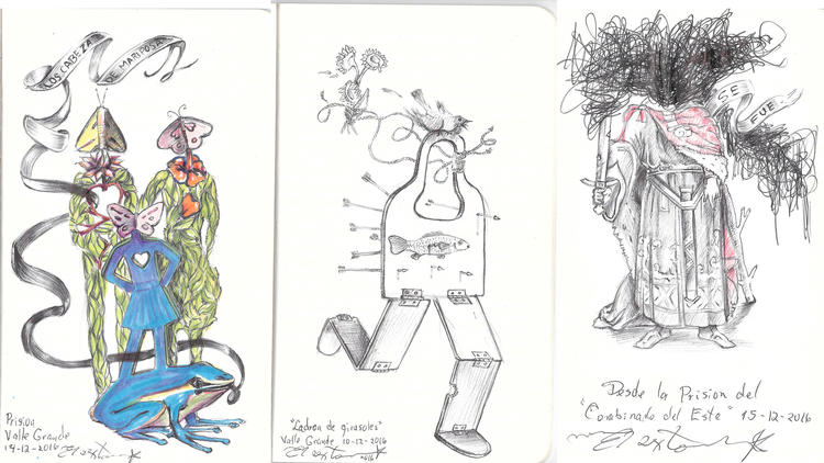 Drawings created by Cuban dissident artist Danilo Maldonado Machado while in prison on the island —