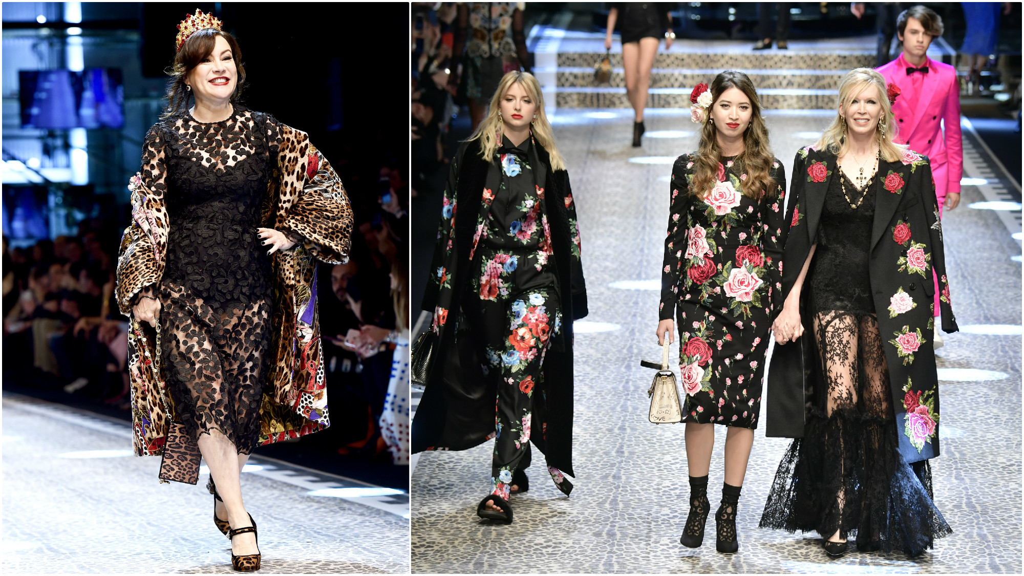 Jennifer Tilly walks the runway at the Dolce & Gabbana show on Feb. 26, 2017, during Milan Fashion Week; and at right, Isabel Getty, left, Alyssa Fung and Susan Casden also make a runway appearance at Dolce & Gabbana's February show.