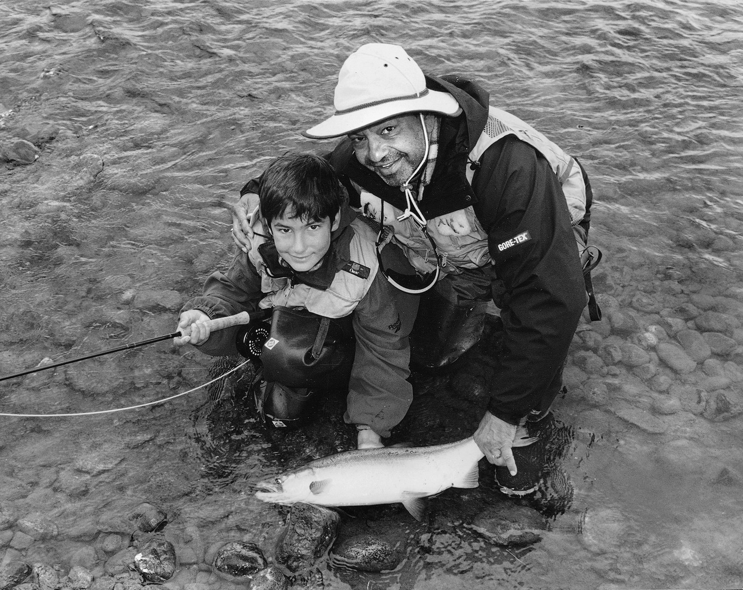 Cheech Marin, right, fishing for sockeye salmon in Alaska with his son Joey, in an undated family photo.