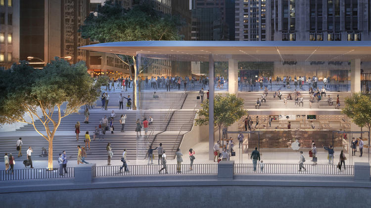 New Apple store under construction on Chicago River