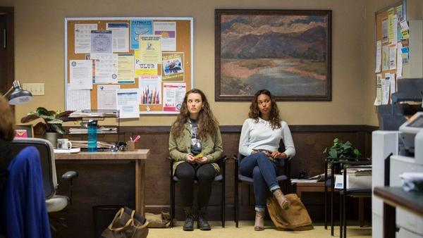"Katherine Langford, left, and Alisha Boe play frenemies in the Netflix series ""13 Reasons Why."""