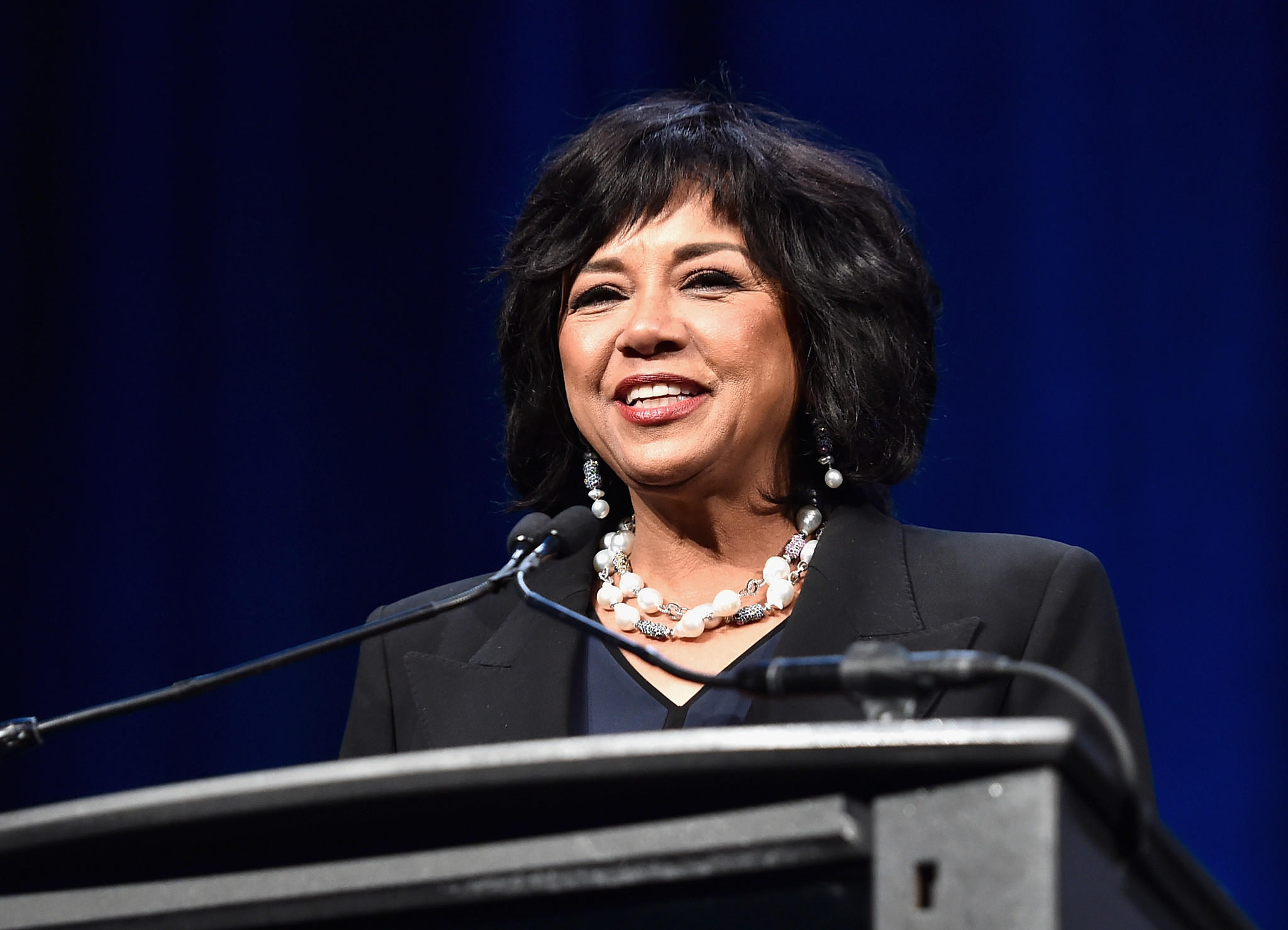Cheryl Boone Isaacs speaks after receiving the 2017 Will Rogers Pioneer of the Year award. (Alberto E. Rodriguez / Getty Images for CinemaCon)