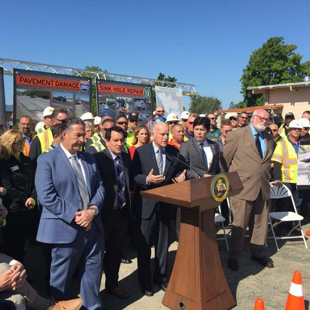 Gov. Jerry Brown and state legislative leaders appealed Thursday for support for a proposed gas tax and vehicle fee increase to fix the state's roads and bridges. (Patrick McGreevy / Los Angeles Times)