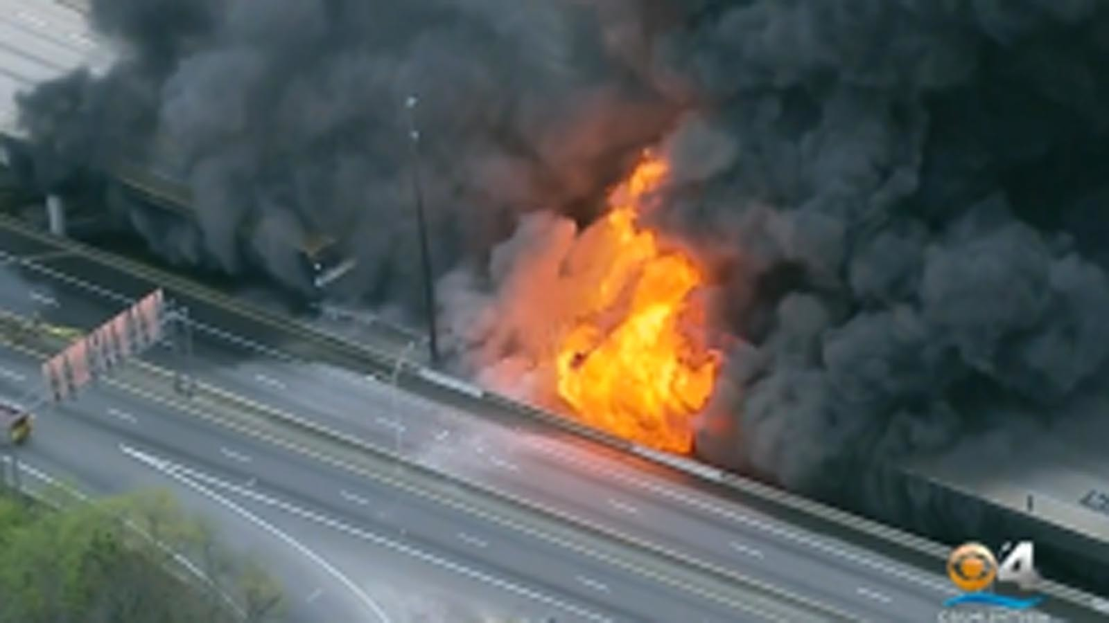Fire Collapses Freeway Overpass In Atlanta La Times