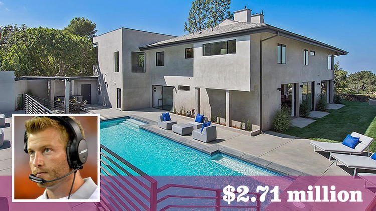 L.A. Rams head coach Sean McVay has paid $2.71 million for a contemporary-style home in Encino.