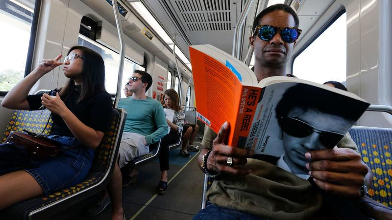 On the Metro Expo Line. (Mel Melcon / Los Angeles Times)