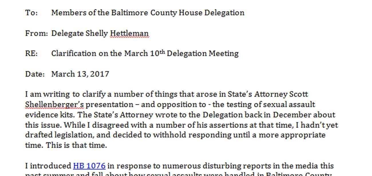 Rape kits PDF Hettleman letter to delegation Baltimore Sun – Delegation Letter