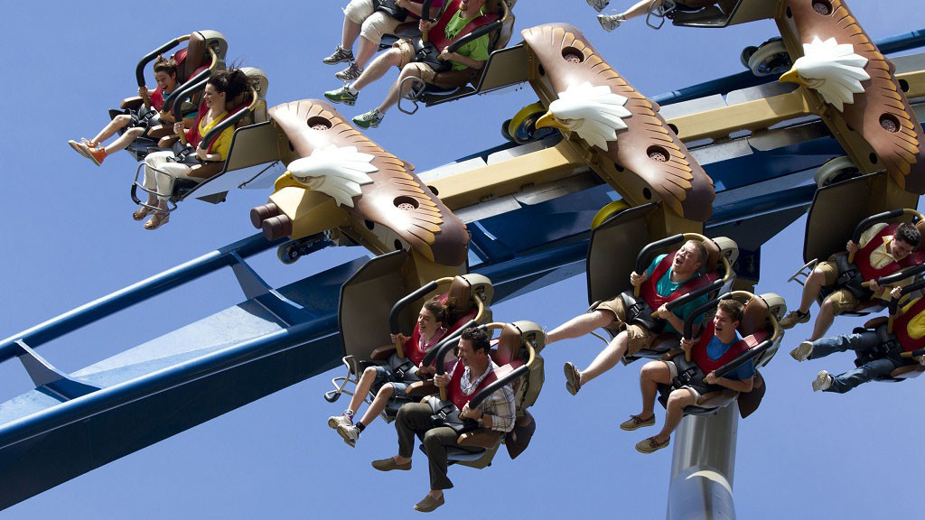 The Bolliger & Mabillard wing coaster features cantilevered seats that hang off either side of the track.