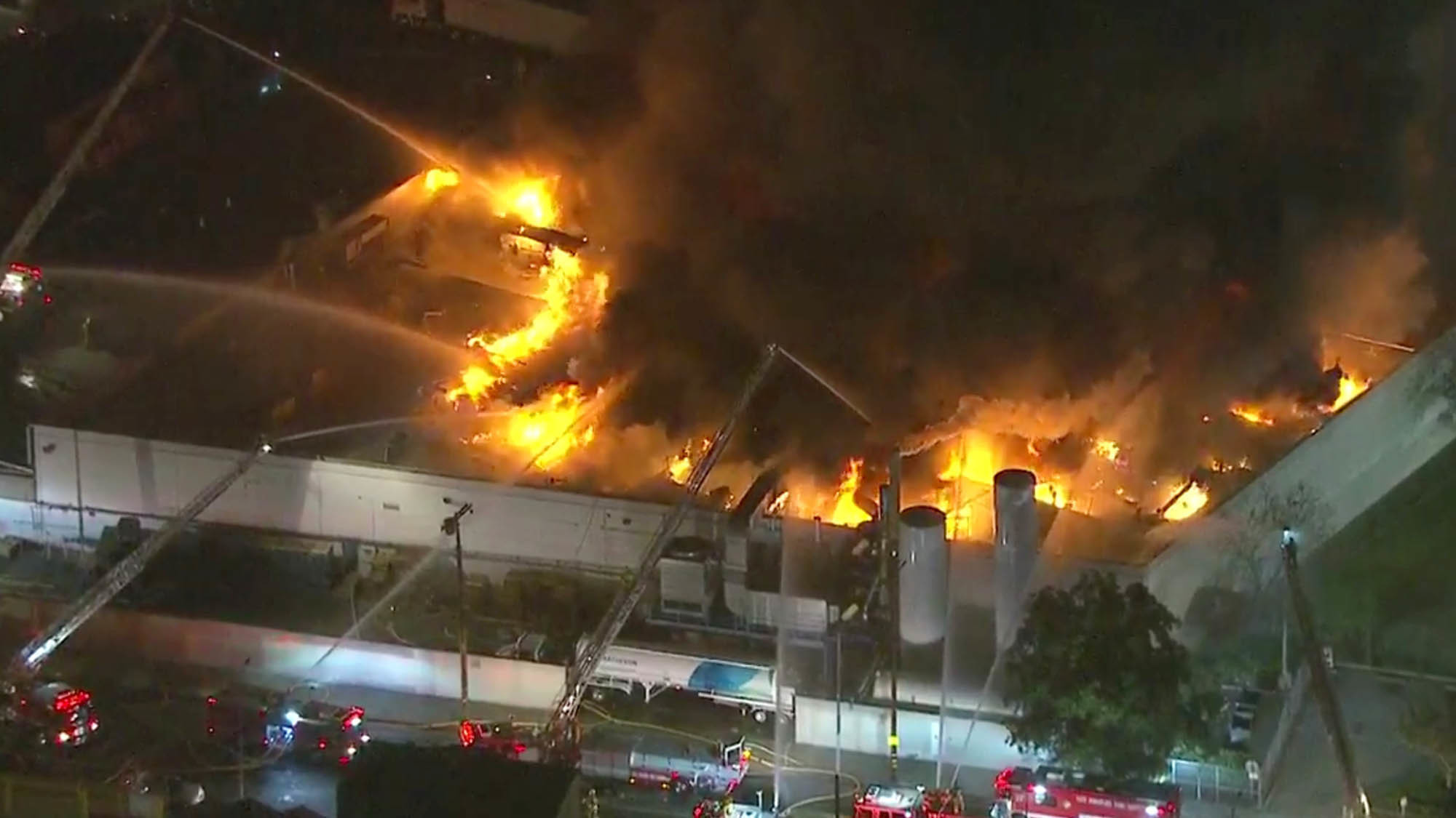 Firefighters Battle Massive Gas Fed Blaze At South L A