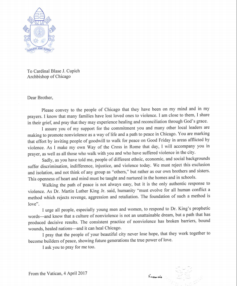 pope francis letter to cardinal cupich pdf chicago tribune