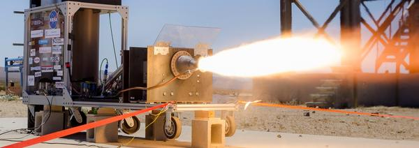 Tri-D Dynamics' second-generation rocket engine is test-fired in 2016.