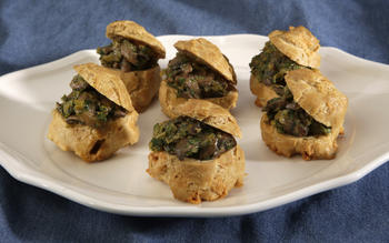 Passover gougeres with leeks and mushrooms