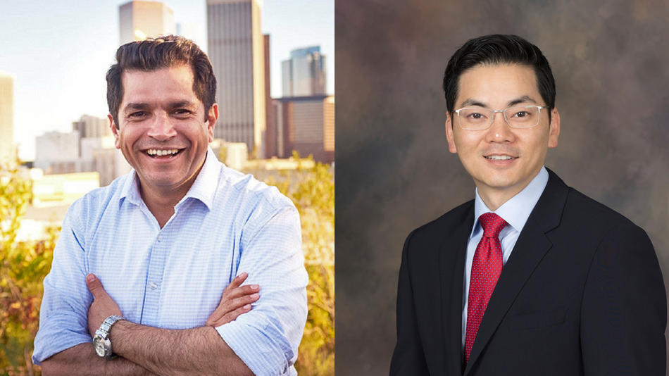 Assemblyman Jimmy Gomez, left, and Robert Lee Ahn are running to replace Xavier Becerra in the 34th Congressional District. (Los Angeles Times)