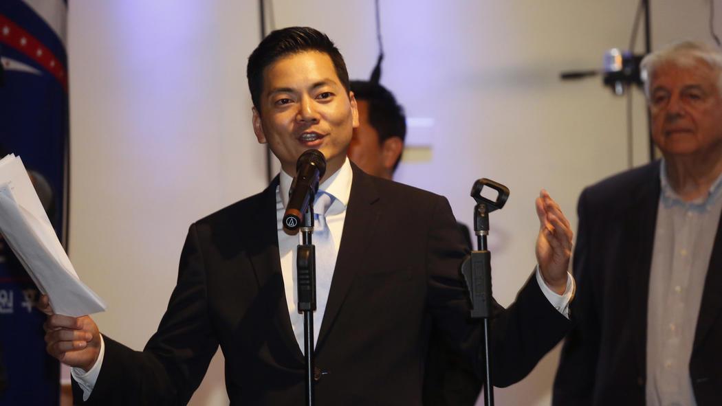 Robert Lee Ahn addresses supporters. (Genaro Molina / Los Angeles Times)