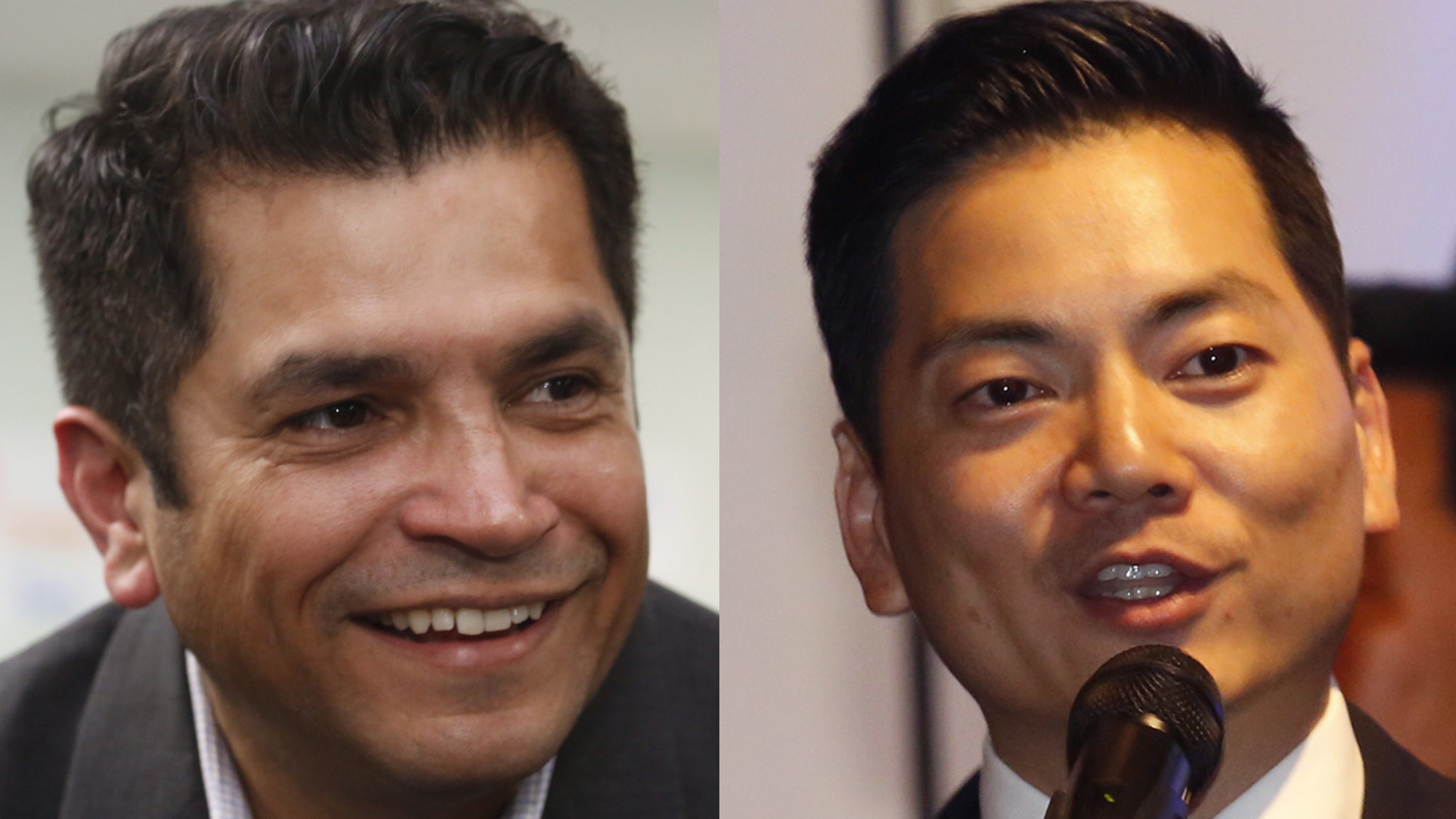 Assemblyman Jimmy Gomez, left, and Robert Lee Ahn, right, spent a lot of their money in the final days of the primary campaign. (Los Angeles Times)