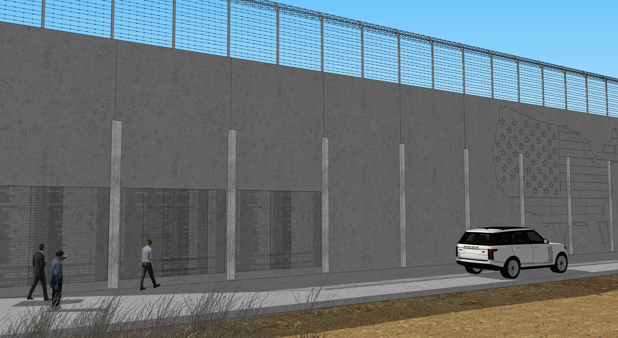 An artist's rendering of a potential new wall along the U.S. border with Mexico. (Los Angeles Times)