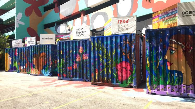 Magda Love murals on Miami shipping containers