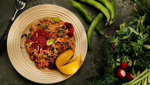 Gondi kashi, rice with turkey, beets, fava beans and herbs