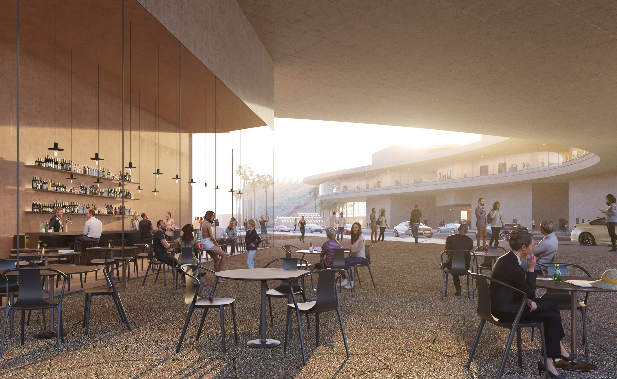 """The cafe area, with the span over Wilshire Boulvard, """"Urban Light"""" and the BCAM building in the distance."""
