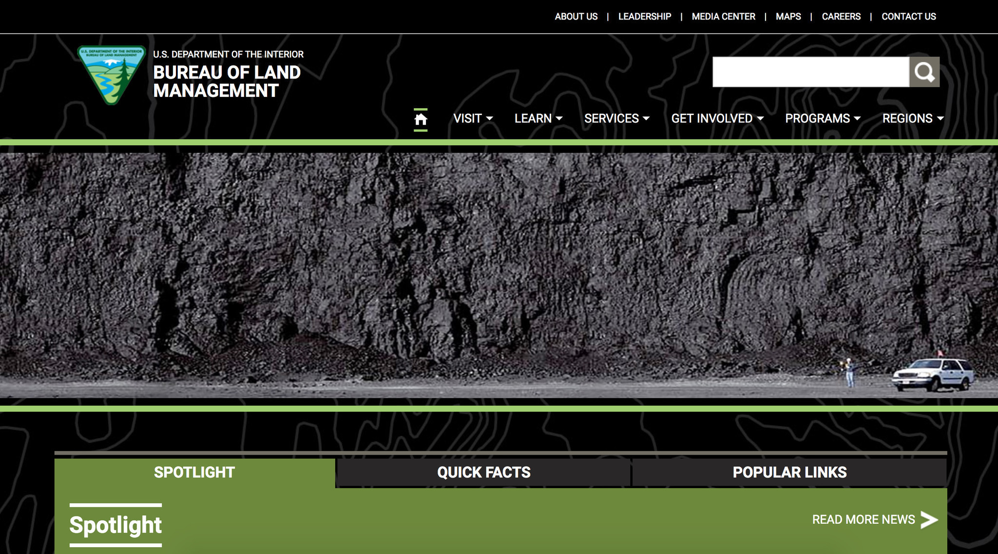 Bureau of land management 39 s homepage takes a dark turn for Bureau land management