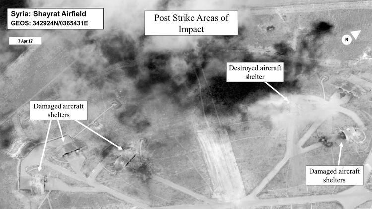 This satellite photo from the Department of Defense shows a battle damage assessment image of Shayra