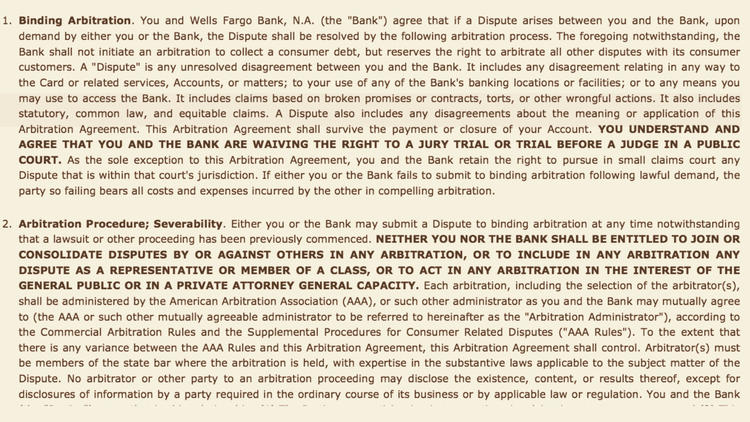 The fine print: portion of an arbitration clause from a Wells Fargo credit card agreement, which bin