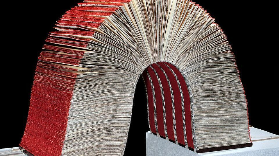 """""""Duchampian Gap"""" by Kitty Maryatt is part of the Craft and Folk Art Museum exhibition """"Chapters: Book Arts in Southern California."""" (Craft and Folk Art Museum)"""