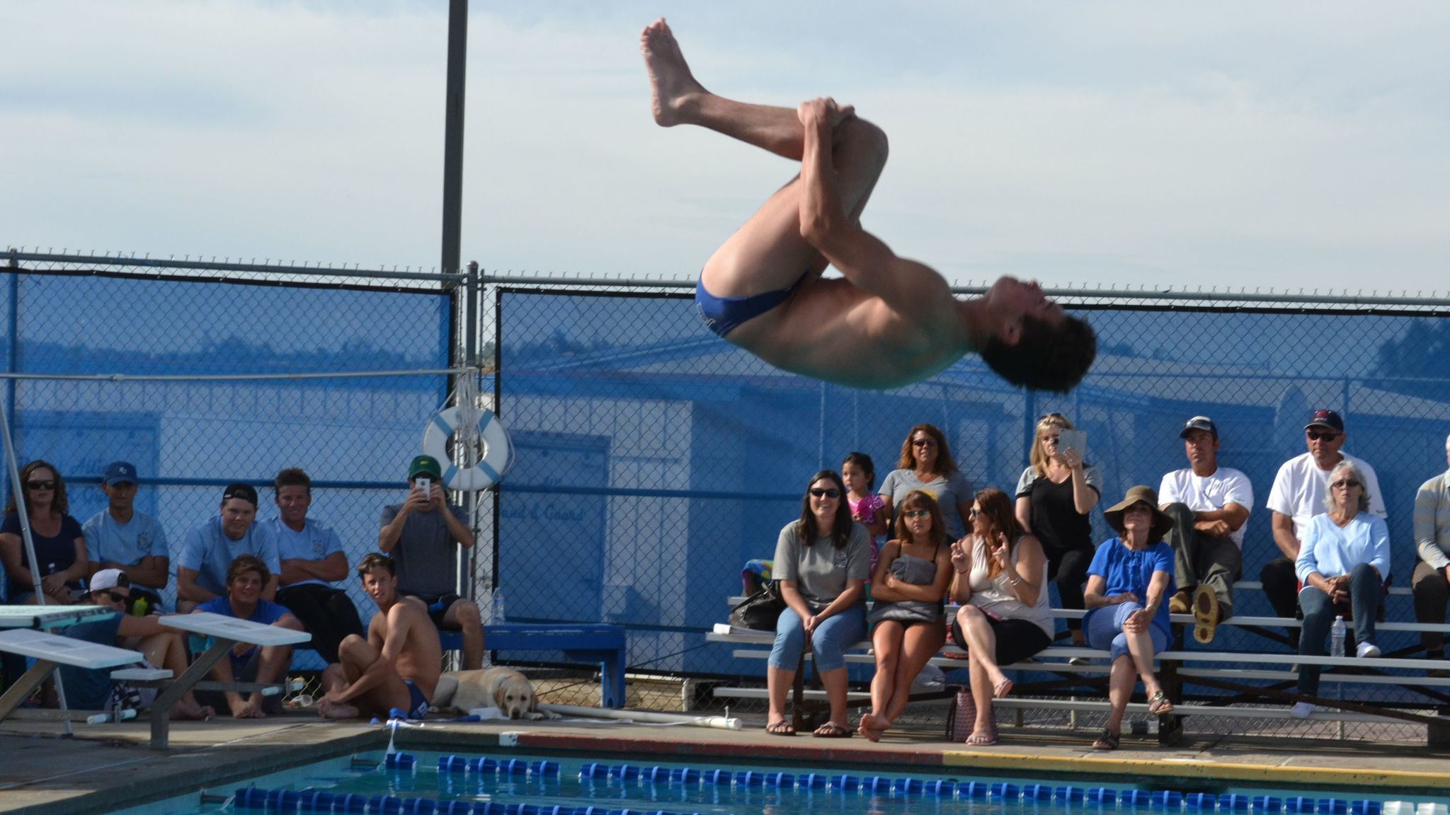 Dylan Webb performs his back dive with a double somersault at the Bulldogs' home meet against Fallbrook April 6.