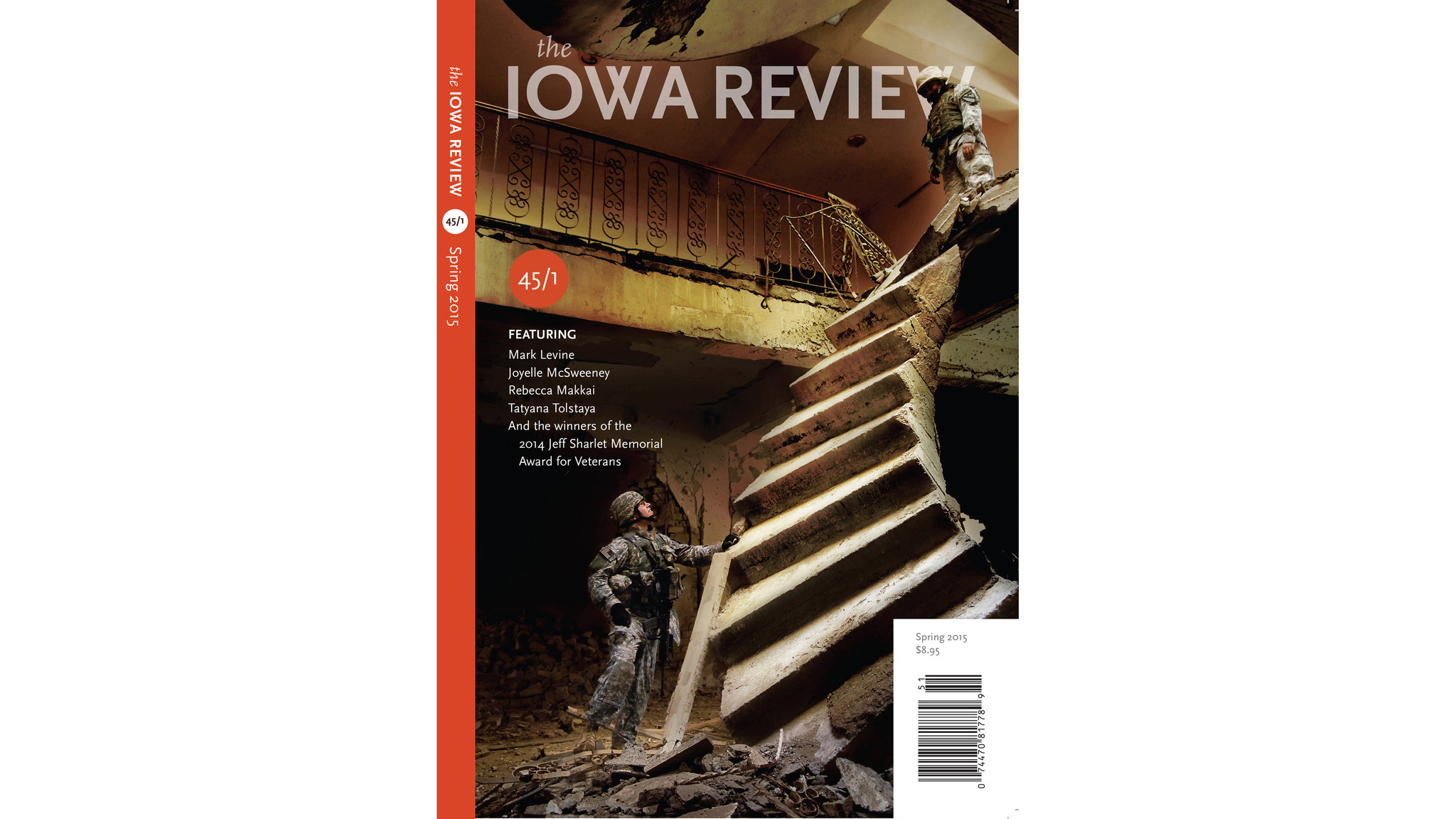 The cover of the Iowa Review, Vol. 45, featuring winners of the 2014 Jeff Sharlet Memorial Award for Veterans.