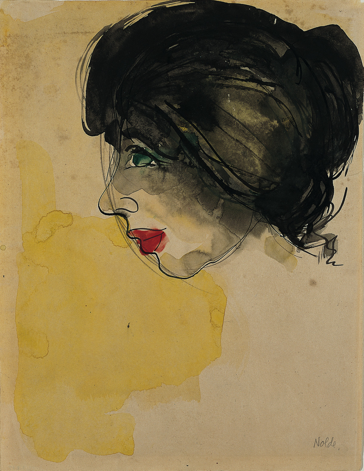 """Head in Profile,"" 1919, by German artist Emile Nolde (1867-1956)"
