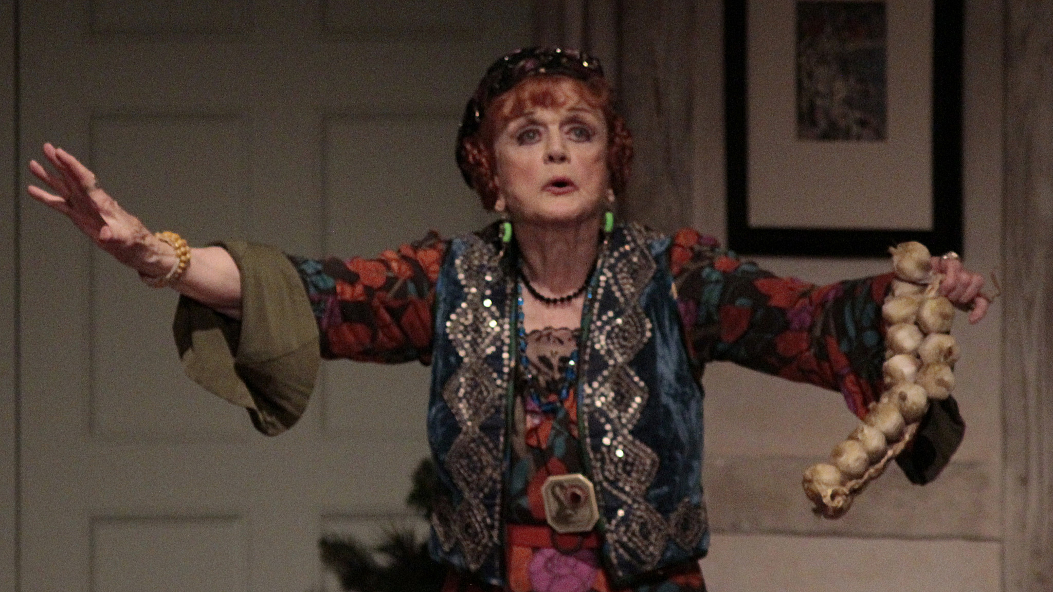 "Angela Lansbury as Madame Arcati in ""Blithe Spirit"" at the Ahmanson Theatre on Dec. 09, 2014."