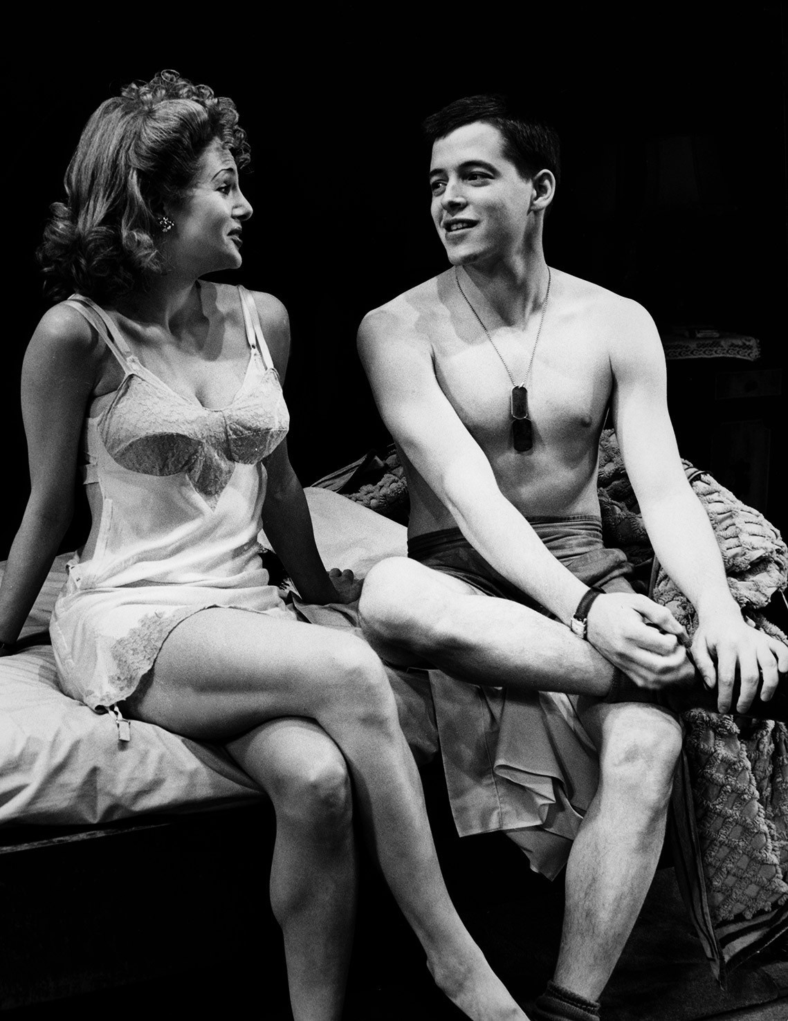 """Matthew Broderick and Penelope Ann Miller in the world premiere of Neil Simon's """"Biloxi Blues"""" at the Ahmanson on Dec. 8, 1984."""