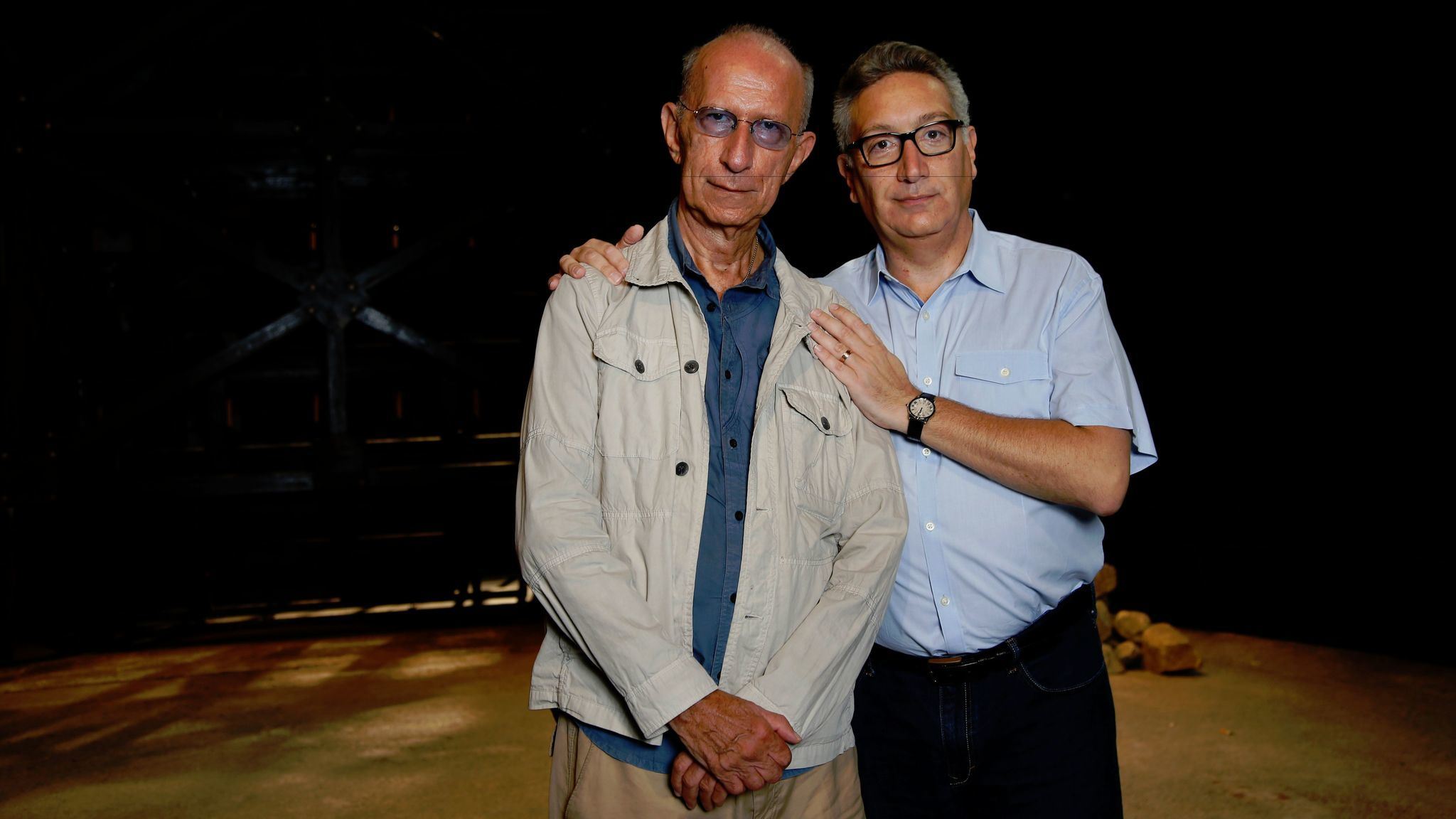 "Playwright Martin Sherman, left, and director Moises Kaufman, of the play ""Bent,"" on stage in the Mark Taper Forum theater."