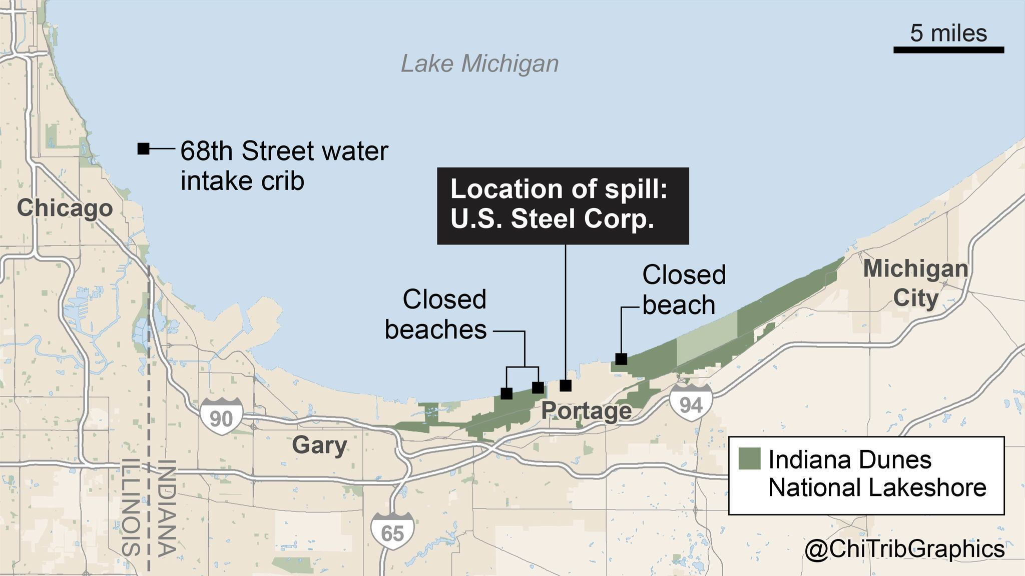 US Steel Chemical Spill Closes Beaches EPA Measuring - Chicago map lake michigan