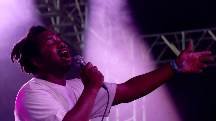 British singer-songwriter Sampha Sisay performs on the Mojave stage. (Luis Sinco / Los Angeles Times)