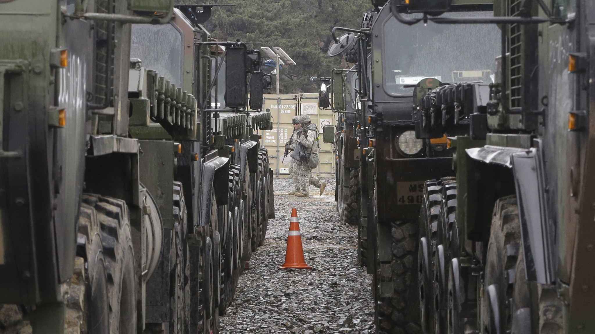 A U.S.-South Korea joint military exercise in Pohang, South Korea. (Ahn Young-joon / Associated Press)