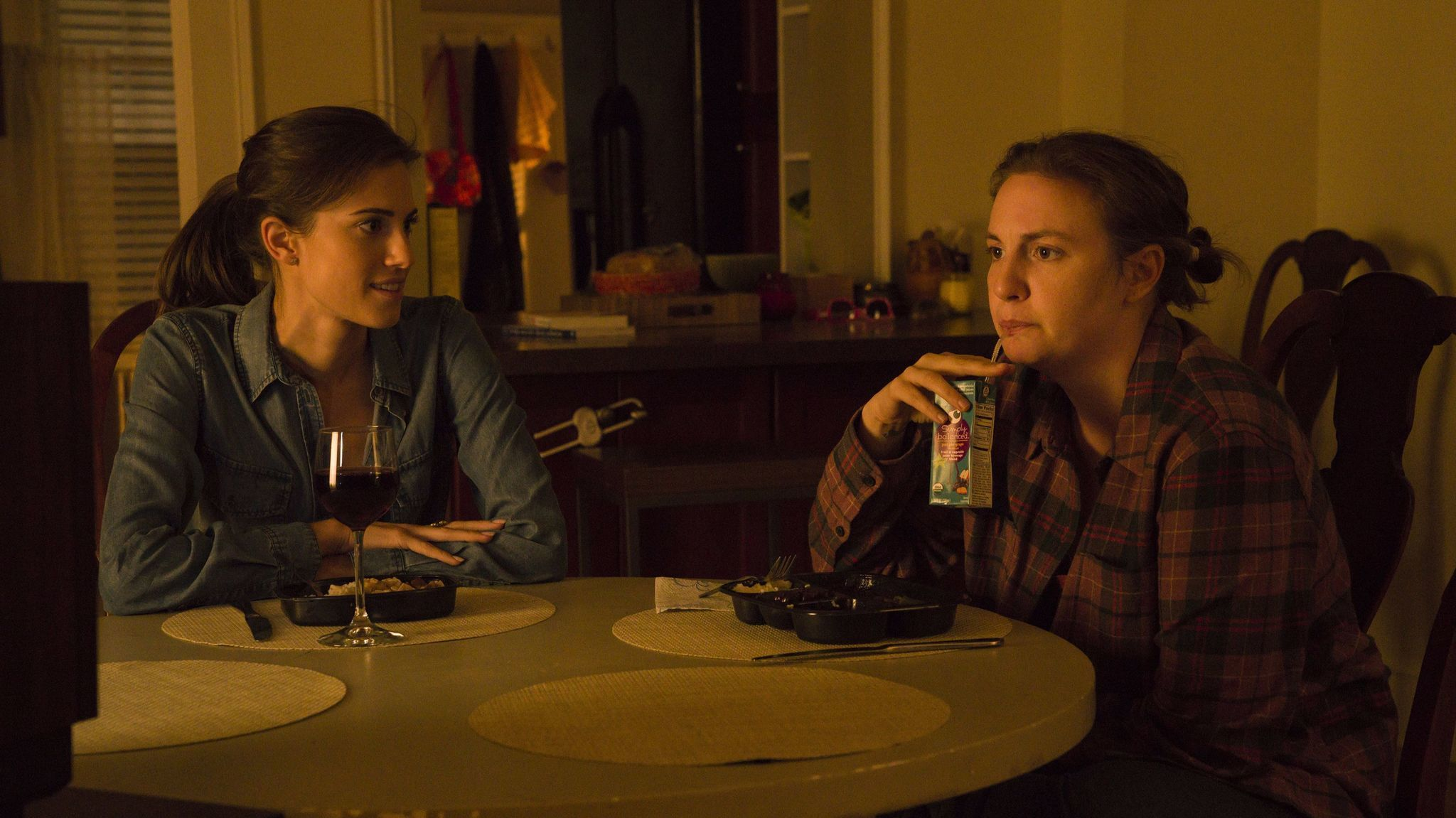 """Allison Williams (Marnie) and Lena Dunham (Hannah) in the final episode of """"Girls."""""""