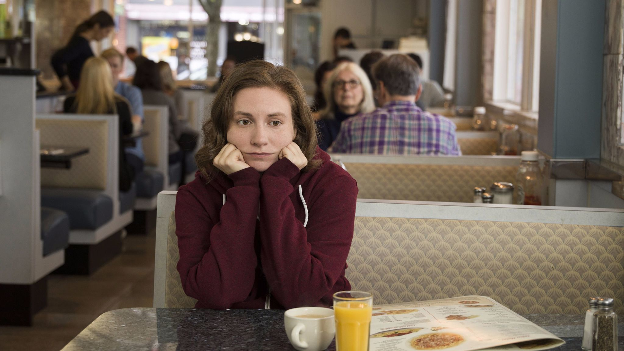 """Lena Dunham (Hannah) in the series finale of HBO's """"Girls."""""""
