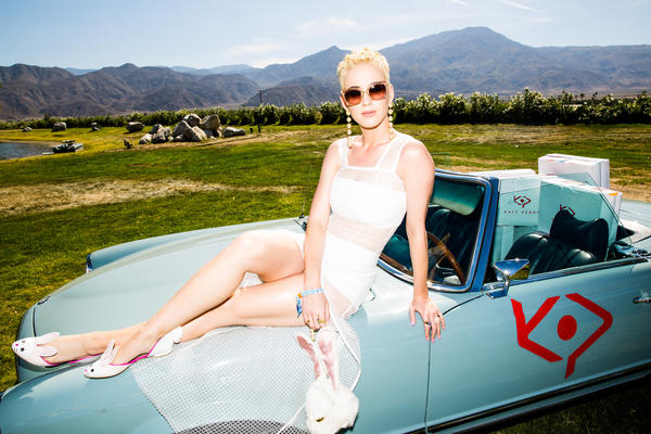 Katy Perry held an Easter Sunday recovery brunch in Thermal to promote her footwear line. (Rony Alwin)