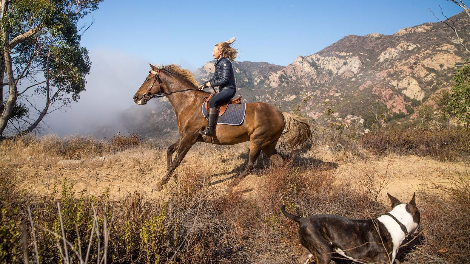 Alice Bamford goes for a trail ride at her Malibu ranch.