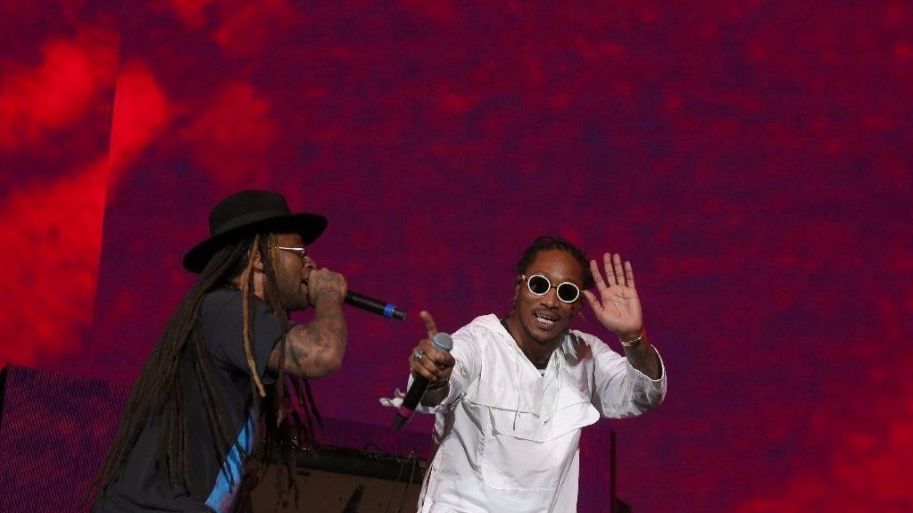 Ty Dolla Sign, left, and Future perform at Coachella.