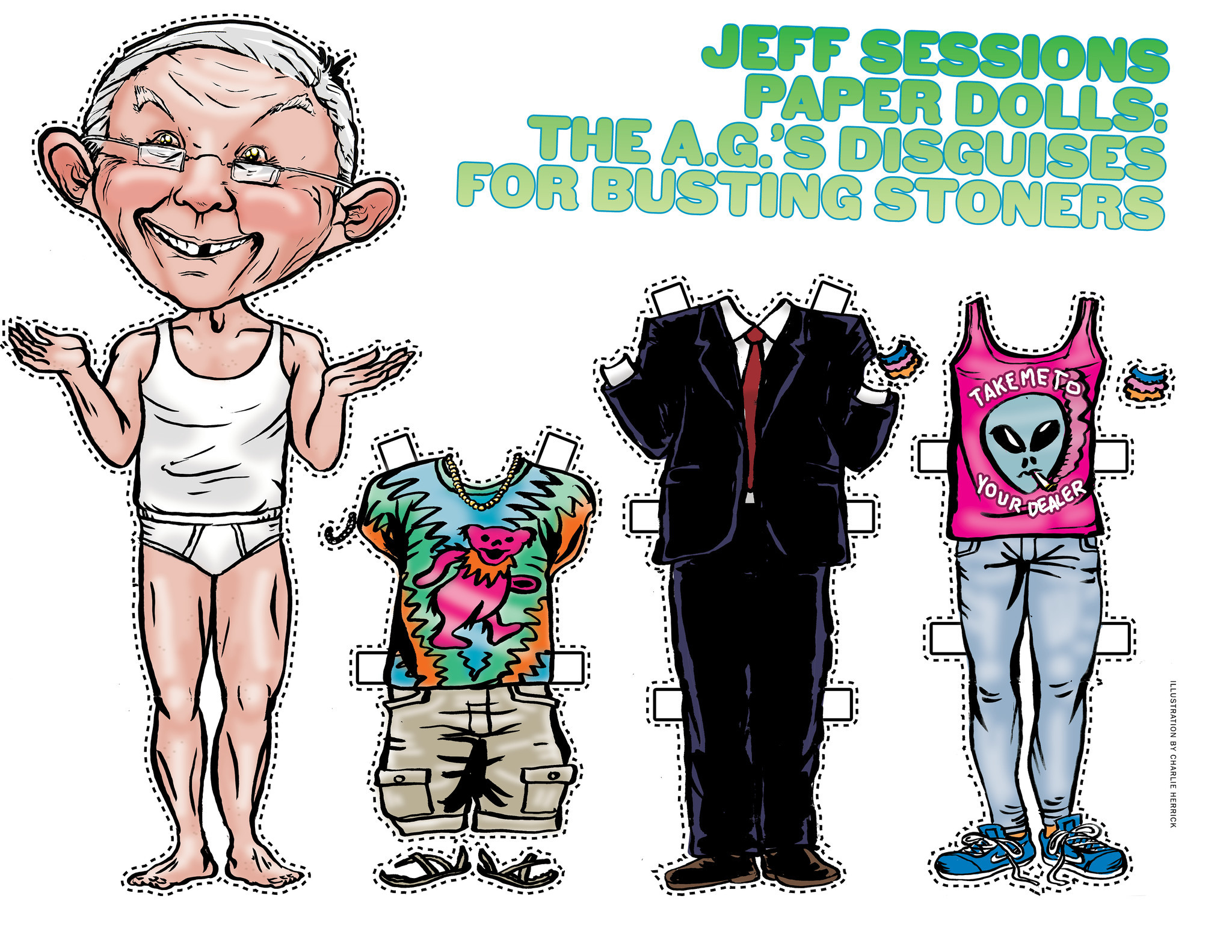 Jeff Sessions Paper Dolls: The A.G.'s disguises for busting stoners