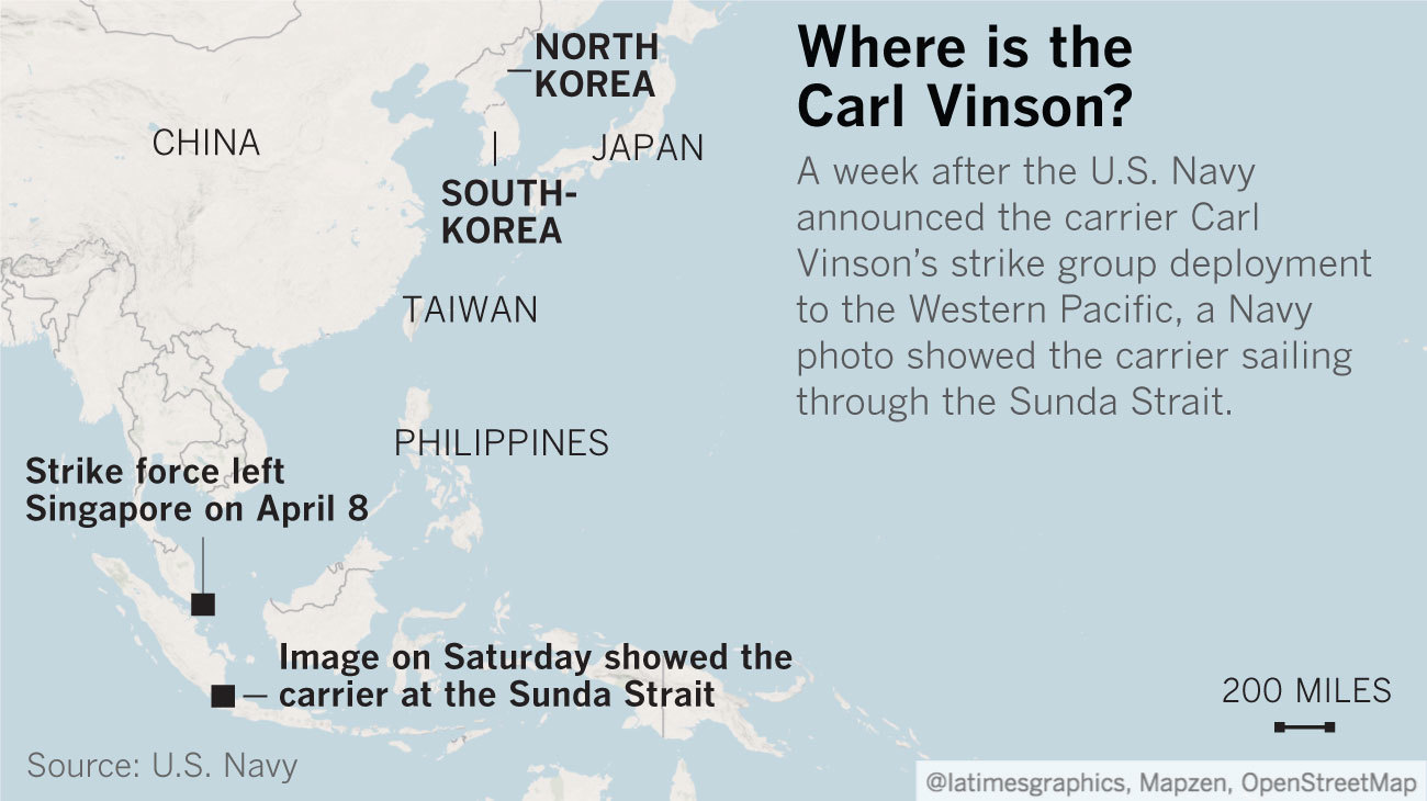 Trump Said Navy Ships Were Headed Toward North Korea They Were - Us aircraft carriers deployment map
